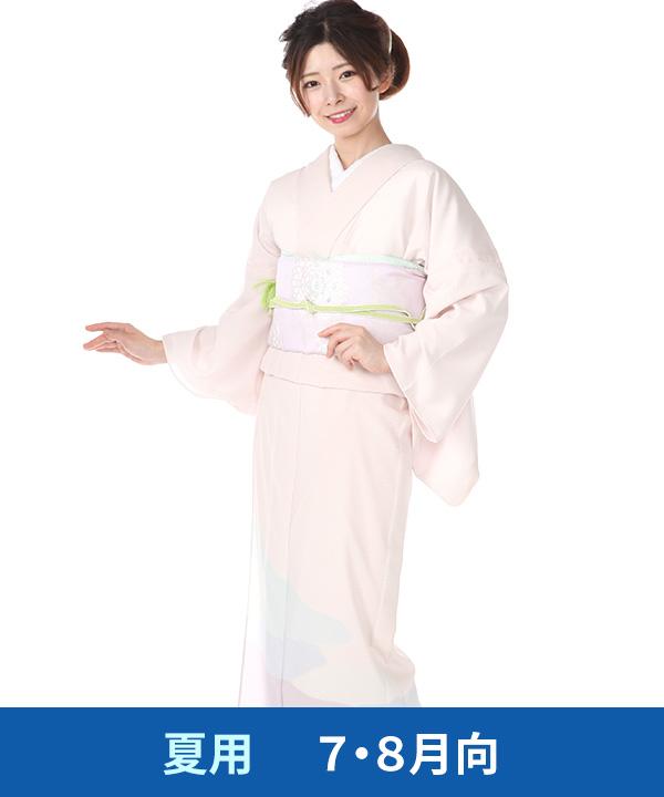 【夏用・7・8月向け】|訪問着(絽)|桜色に霞取り ポリエステル|H0260|L