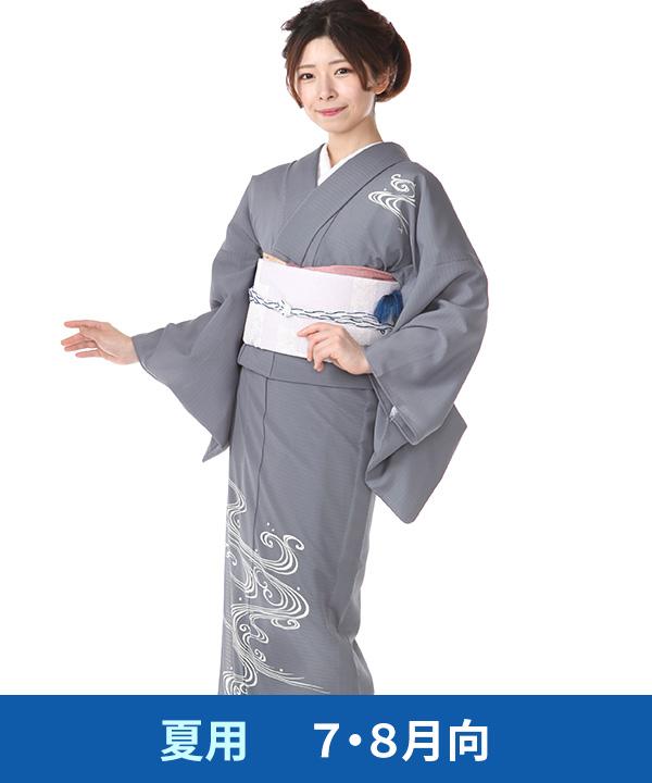 【夏用・7・8月向け】|訪問着(絽)|藍墨茶に流水 ポリエステル|H0268|L