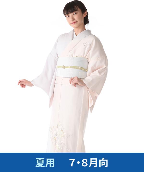 絽 付下げレンタル(夏用)|薄いピンクに唐花総刺繍