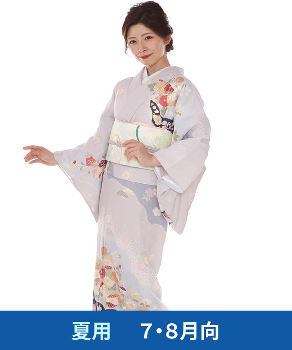 絽 訪問着レンタル(夏用)|JAPAN STYLE 淡薄藤に菊