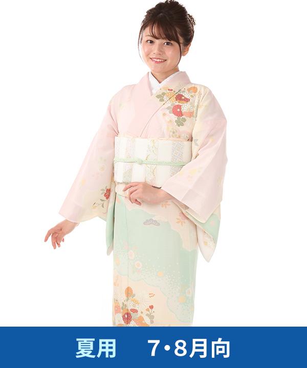絽 訪問着レンタル(夏用)|JAPAN STYLE ピンクに菊