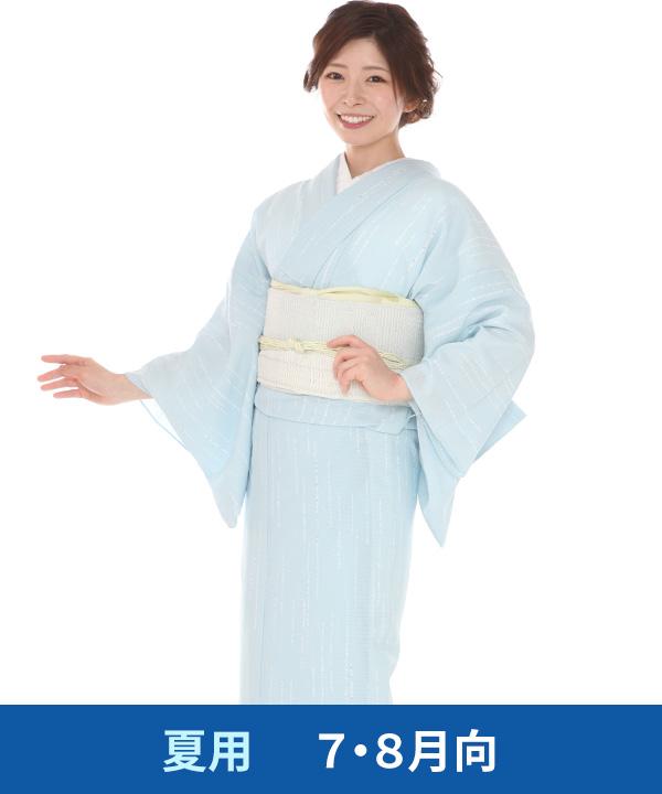 絽 小紋レンタル(夏用)|水色
