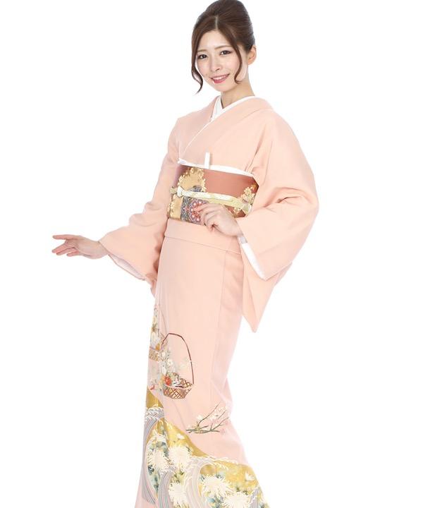 色留袖レンタル 薄ピンクに花籠と波頭に菊