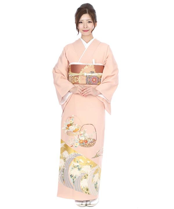 色留袖レンタル|薄ピンクに花籠と波頭に菊