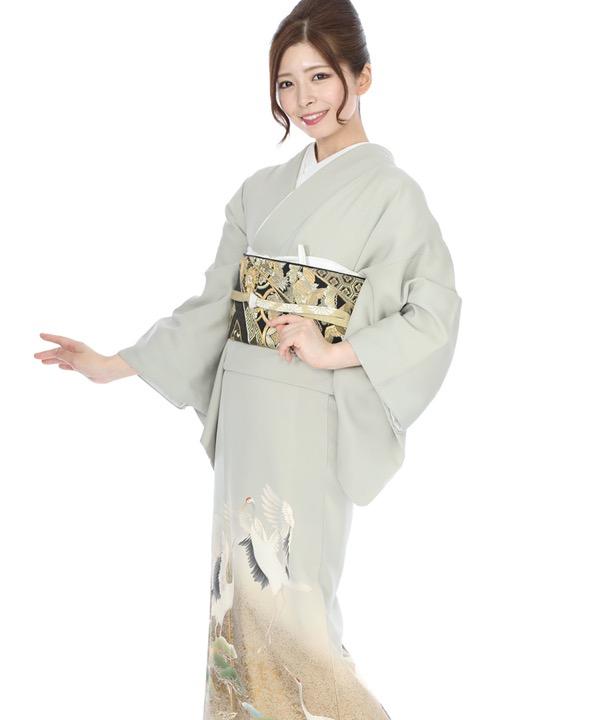 色留袖レンタル|グレーに鶴と松