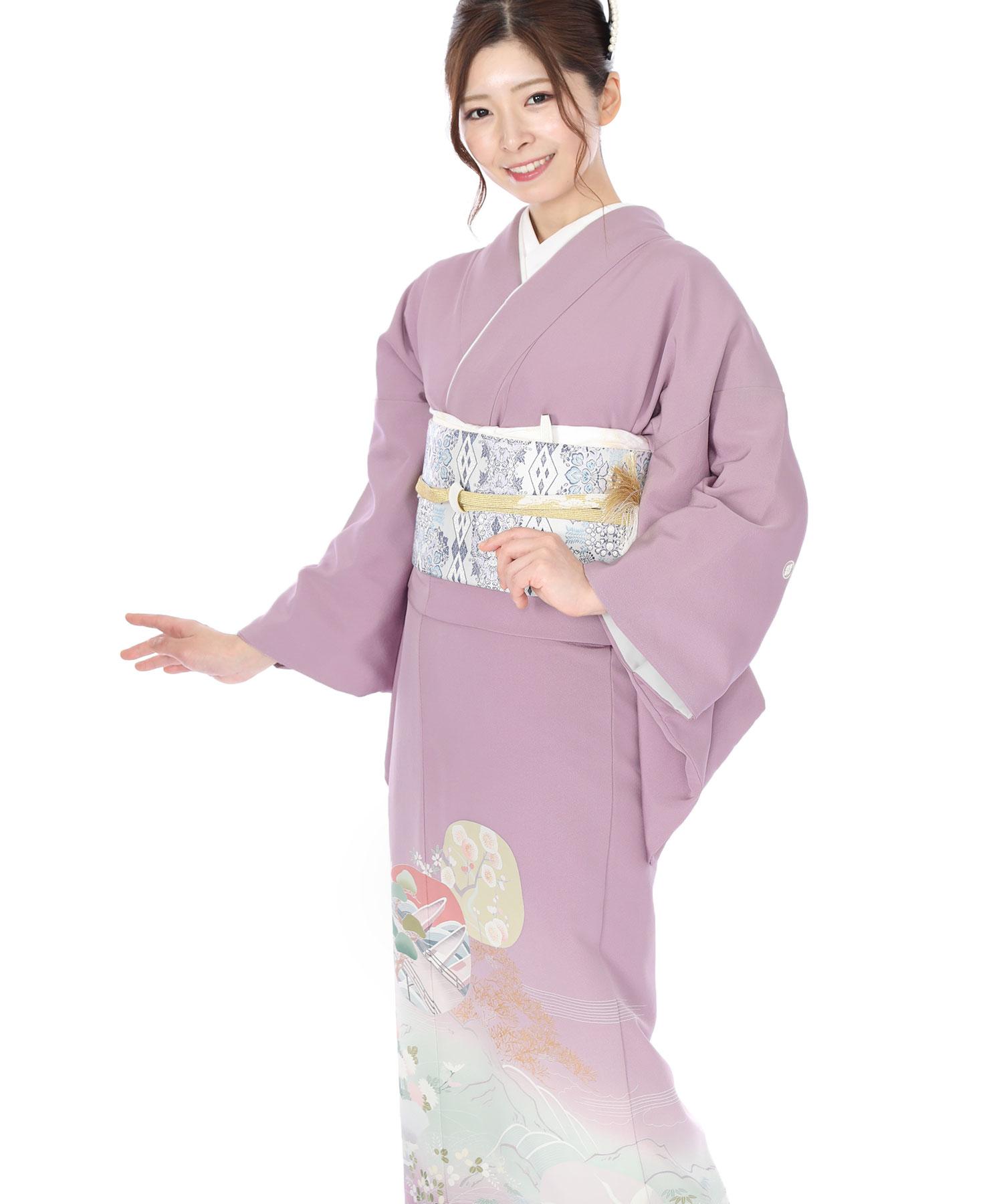 色留袖レンタル|薄葡萄色に梅と松