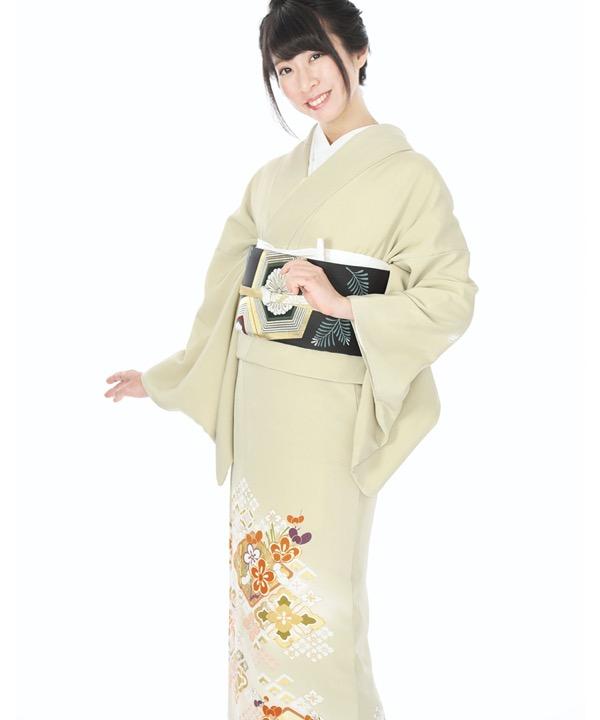 色留袖レンタル|淡い薄緑地に七宝花菱