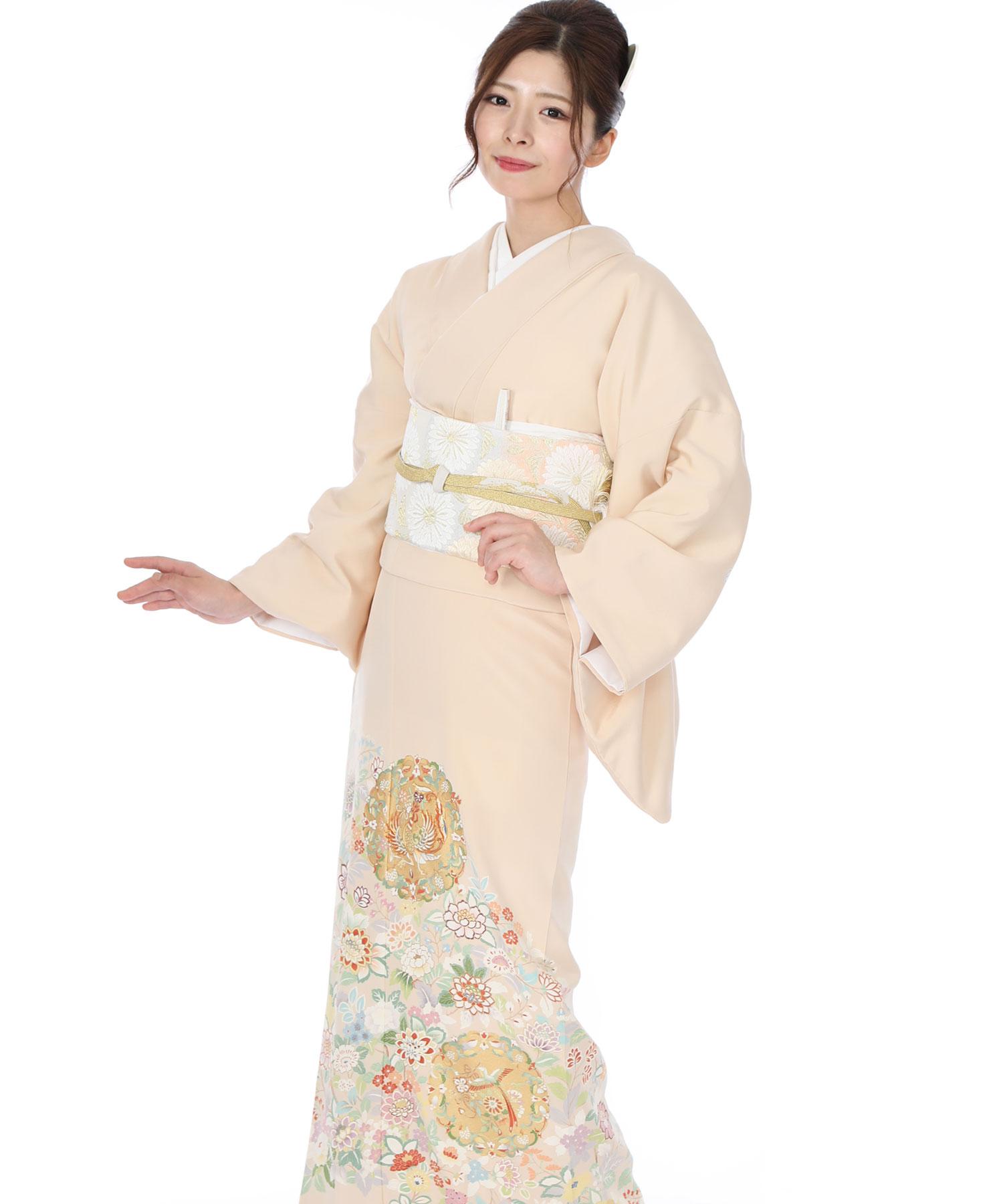 色留袖レンタル|淡い薄オレンジ色に鳳凰と花