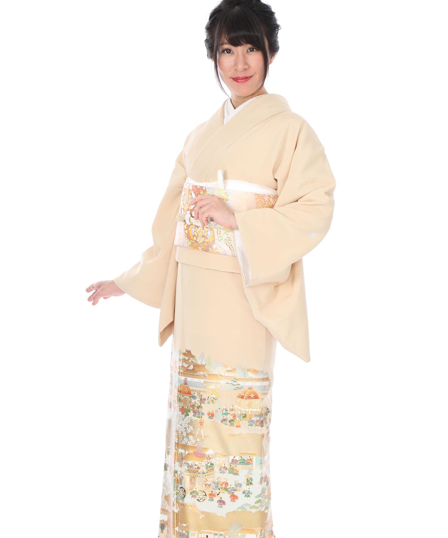 色留袖レンタル 薄橙に祇園祭