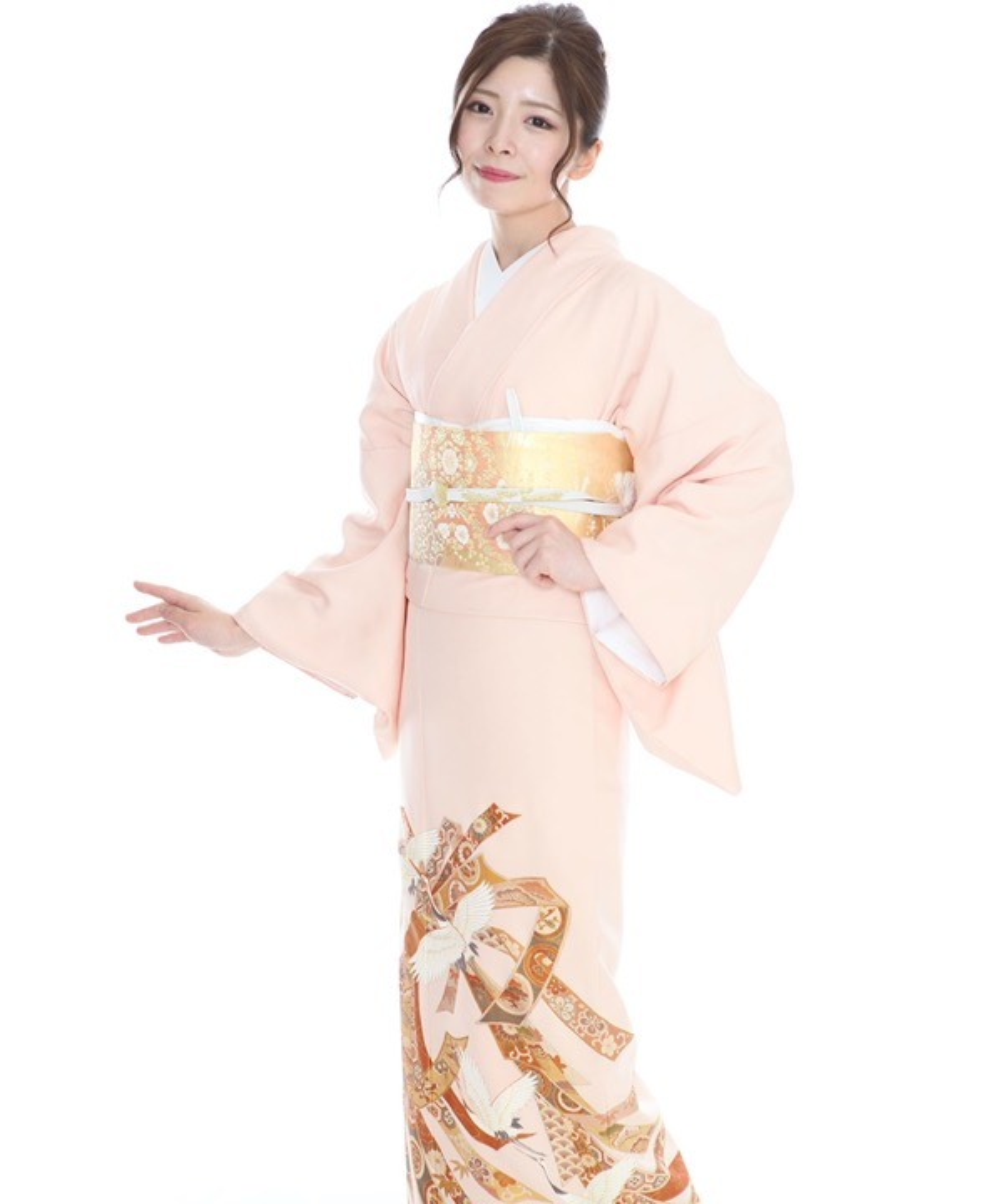 色留袖|薄ピンク地に束ね熨斗と鶴|I0028|L