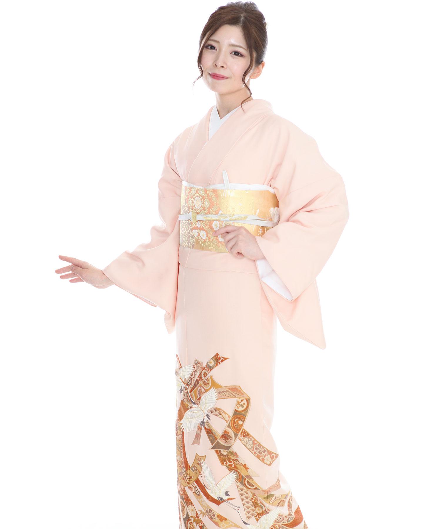 色留袖レンタル 薄ピンク地に束ね熨斗と鶴