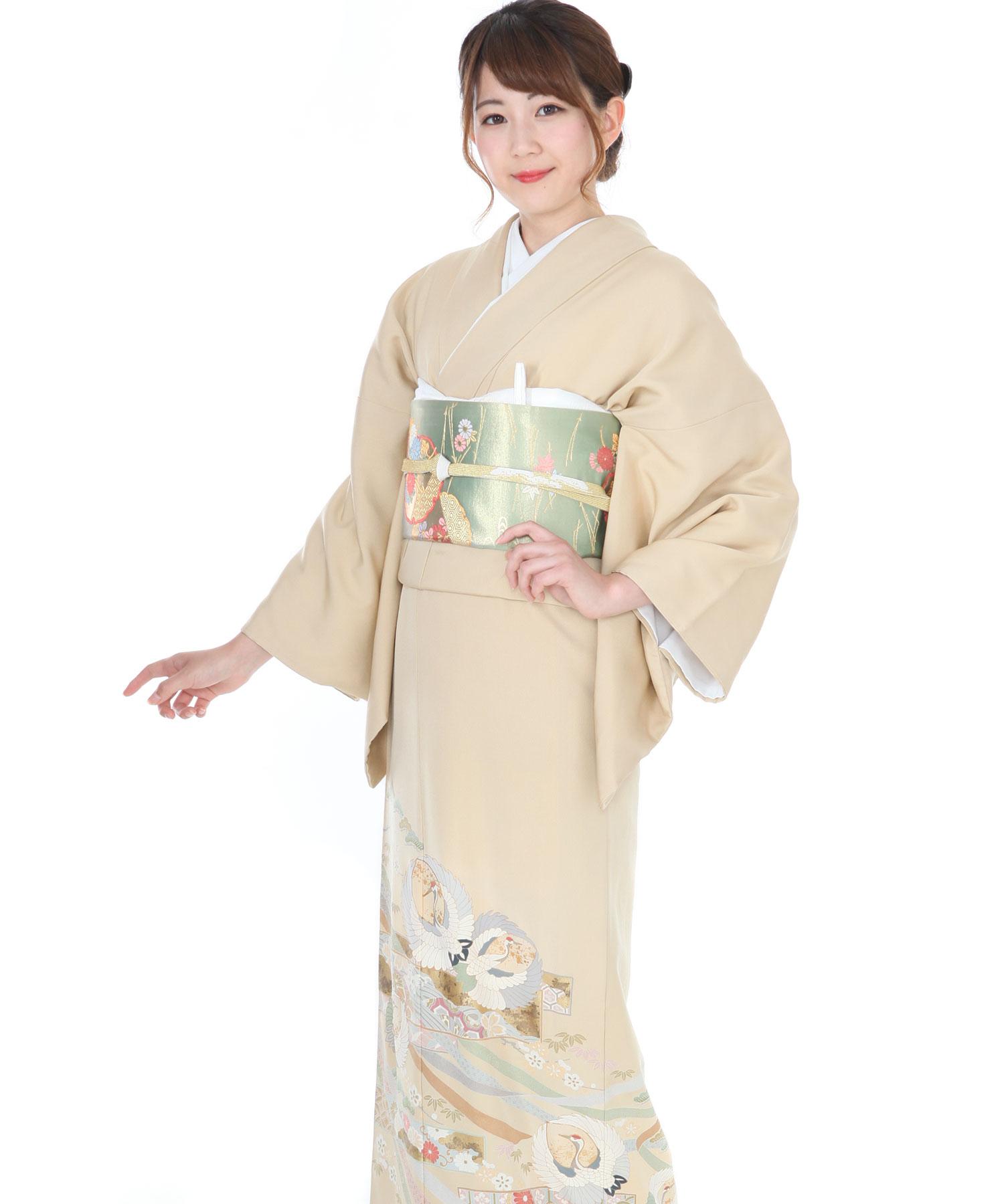 色留袖|ベージュ色に鶴と熨斗|I0035|M