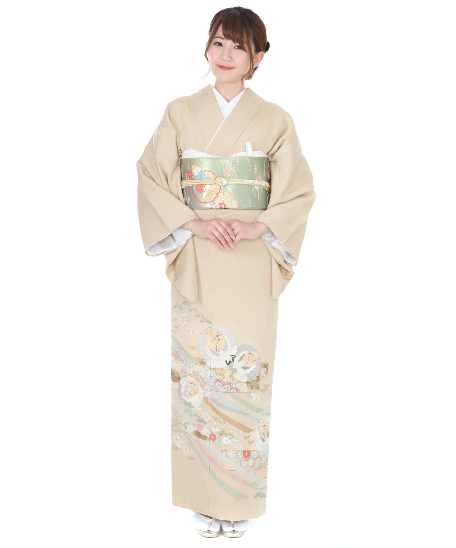 色留袖レンタル|ベージュ色に鶴と熨斗