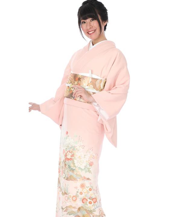 色留袖 ピンク色に四季草花 I0040 M