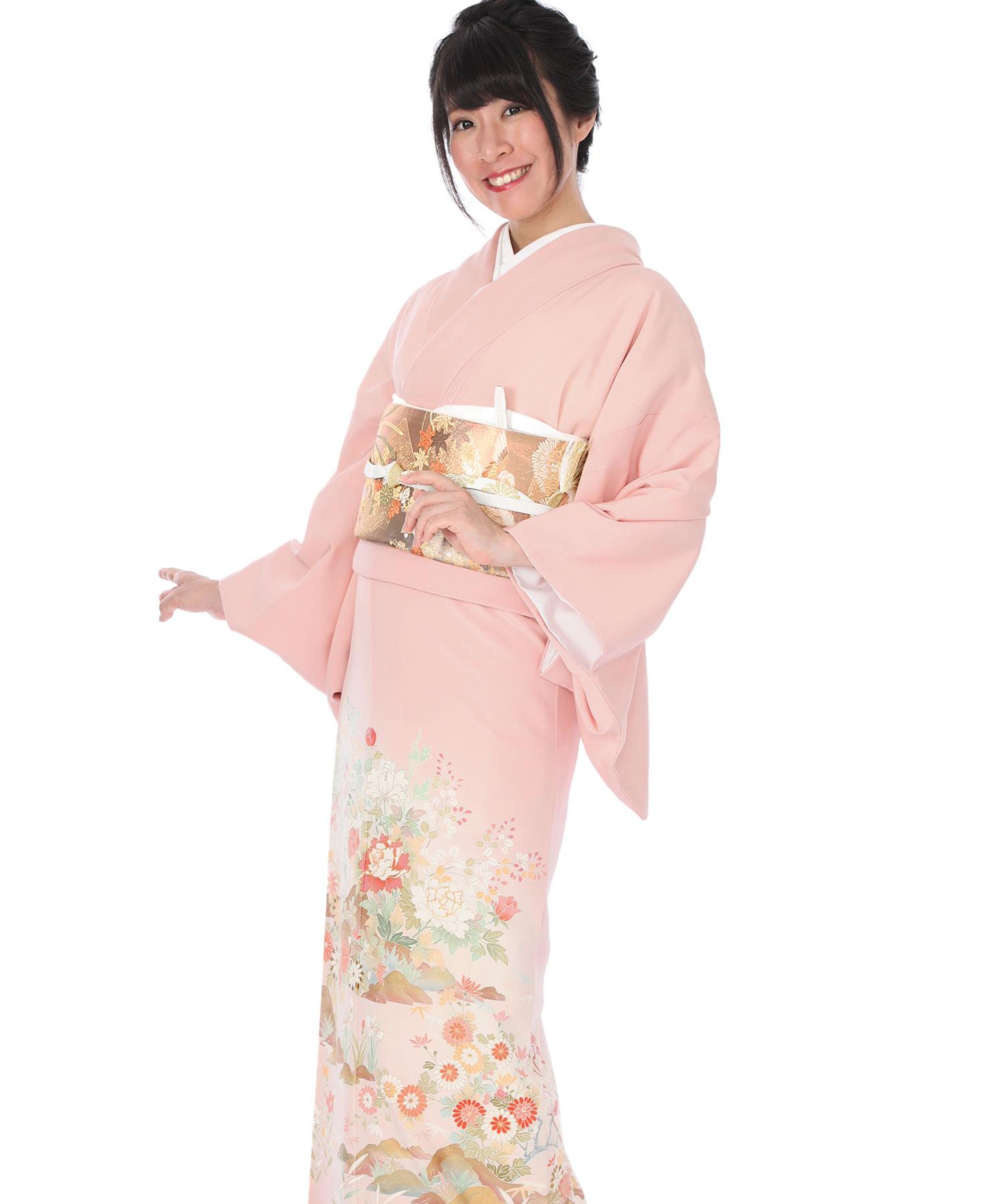 色留袖|ピンク色に四季草花|I0040|M