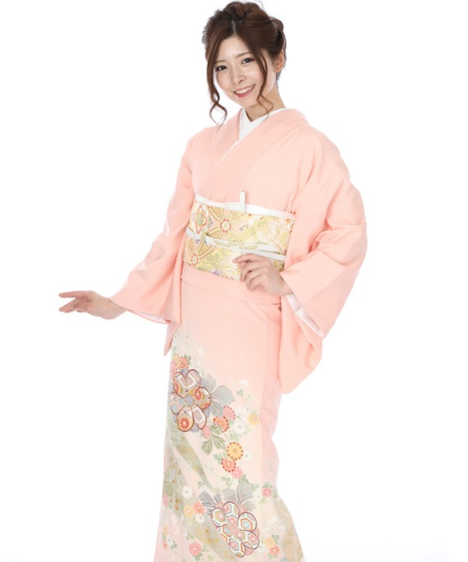色留袖|ピンクに熨斗目と花|I0041|L