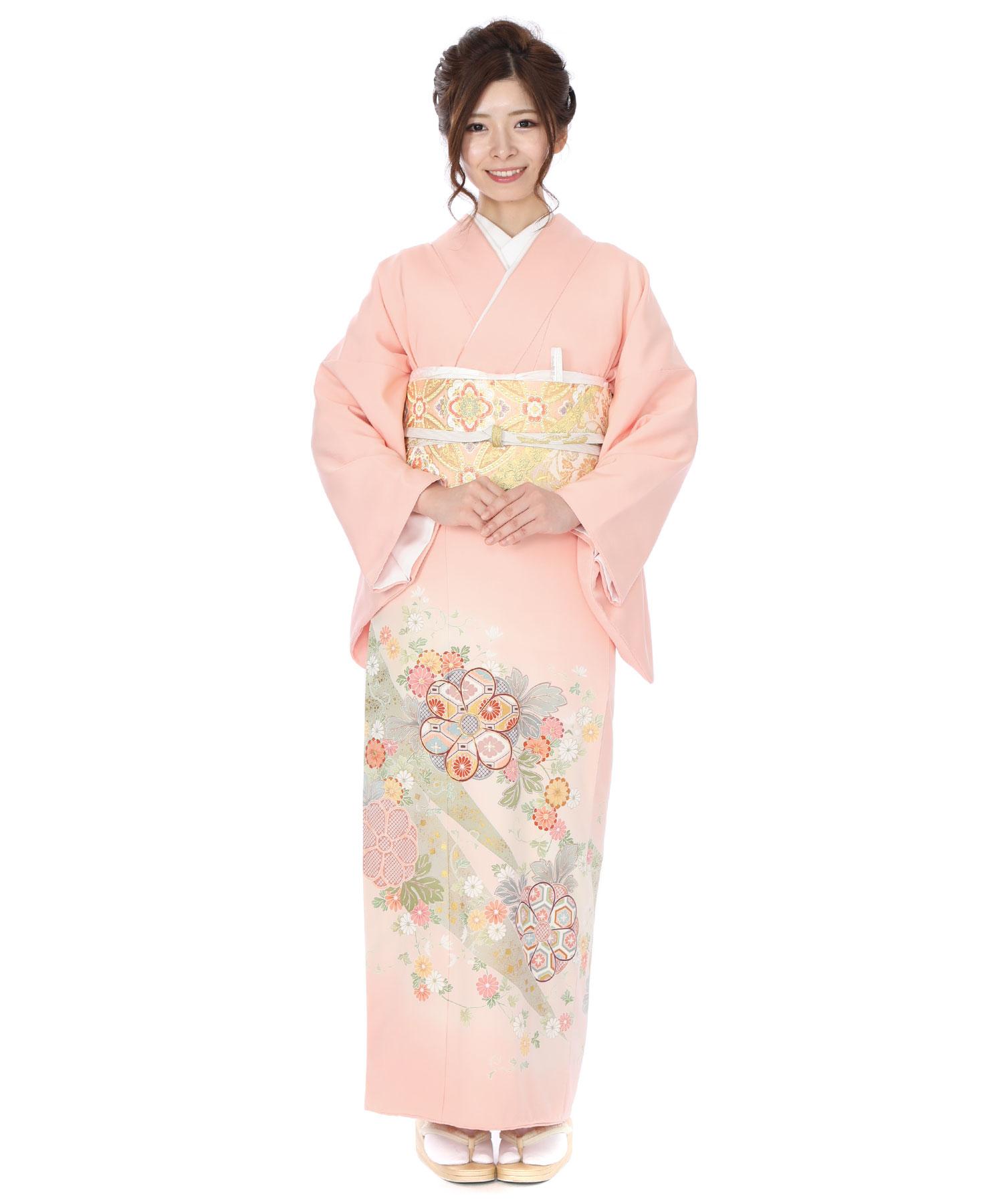 色留袖レンタル ピンクに熨斗目と花