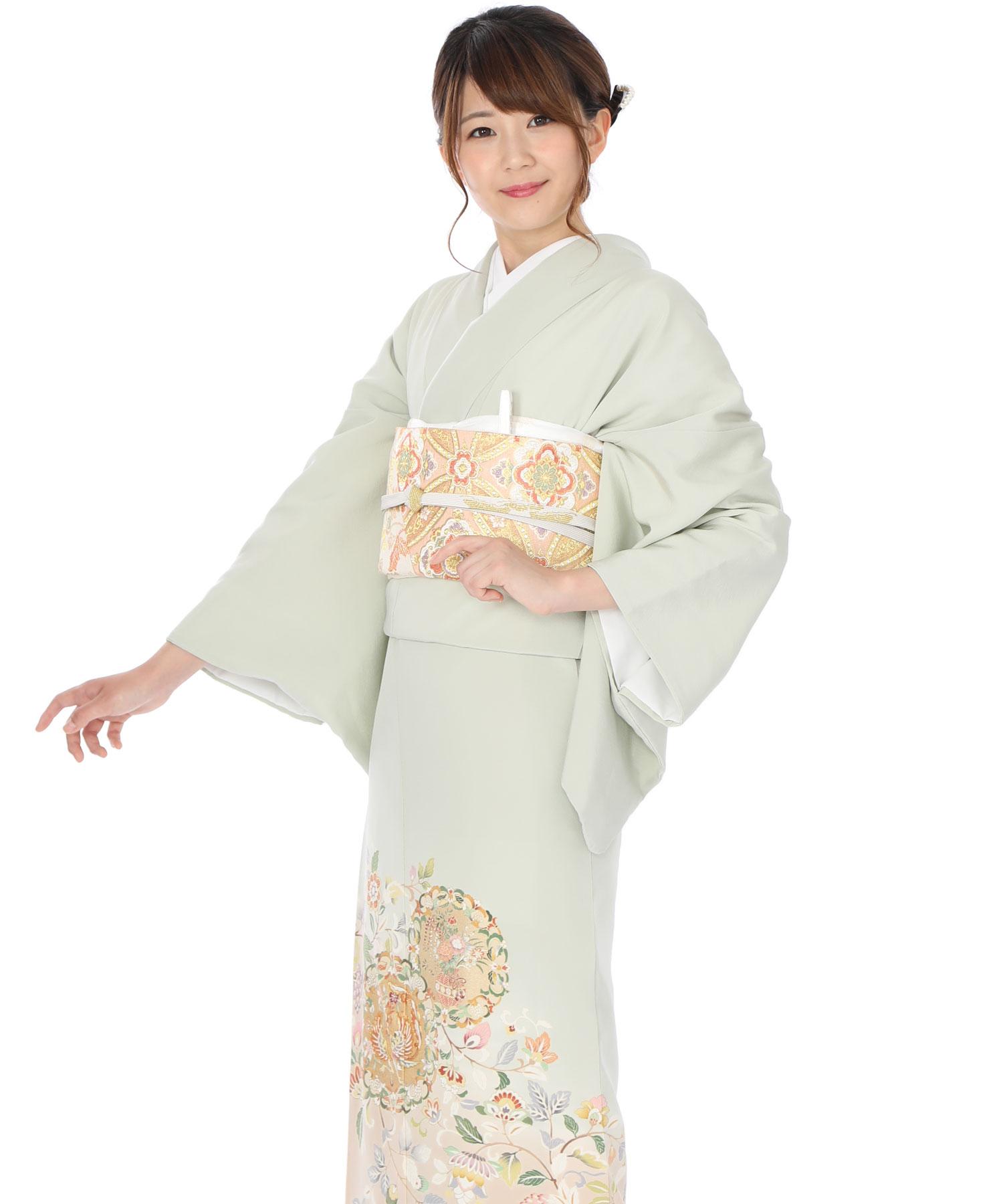 色留袖|薄緑に鳳凰と花|I0042|L