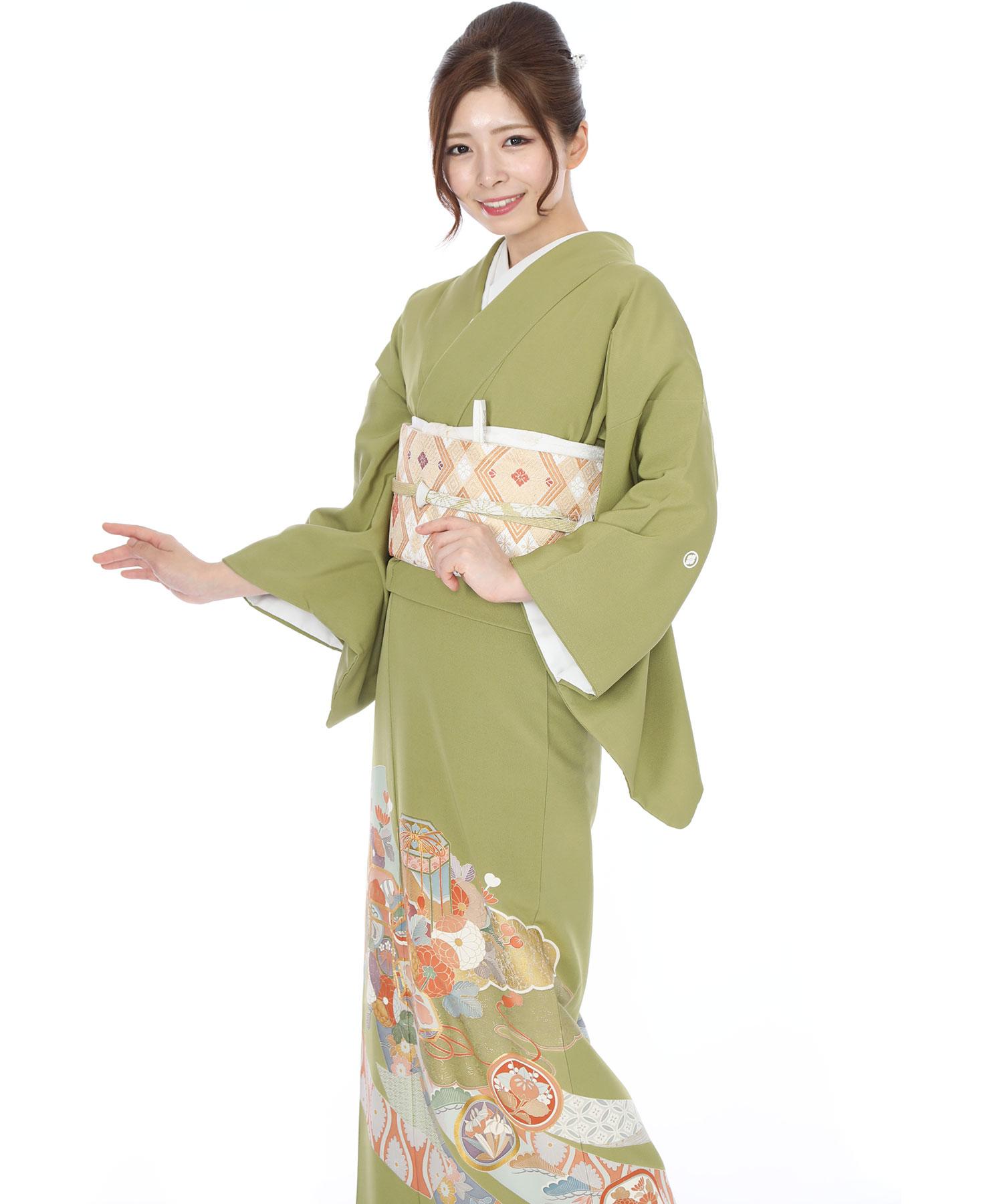 色留袖|緑地に熨斗と菊|I0049|M