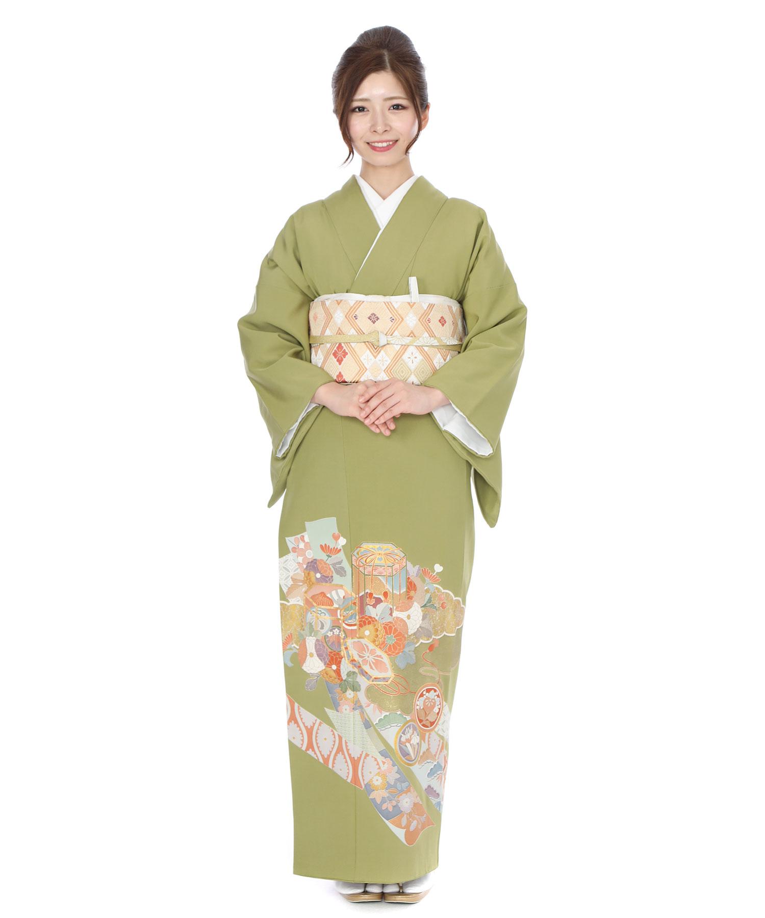 色留袖レンタル|緑地に熨斗と菊