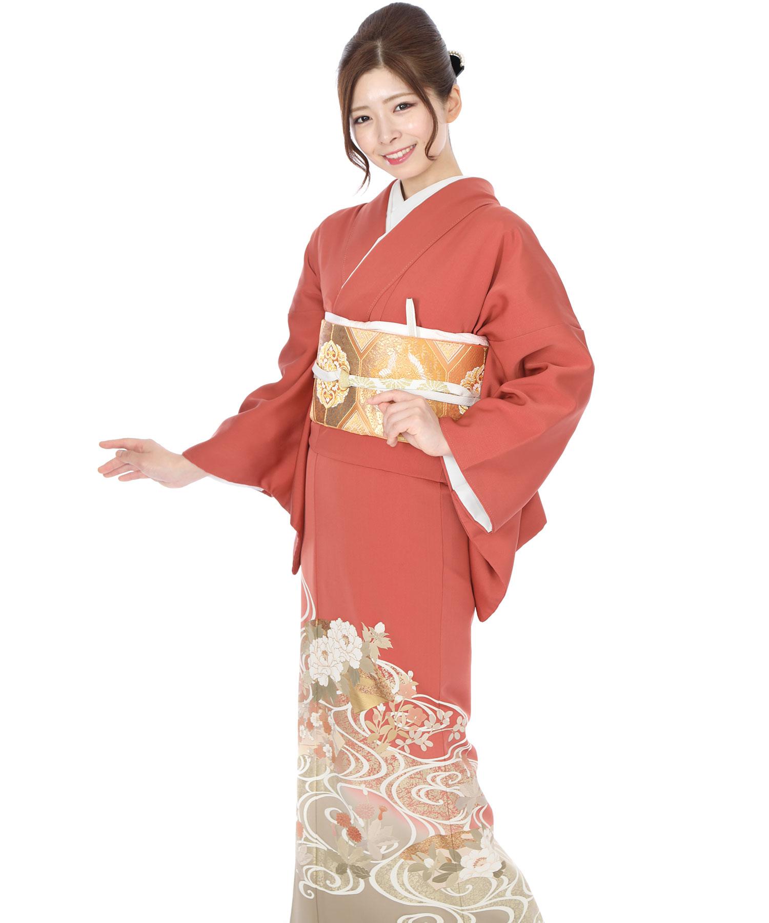 色留袖|赤地に牡丹と桜に流水|I0050|L