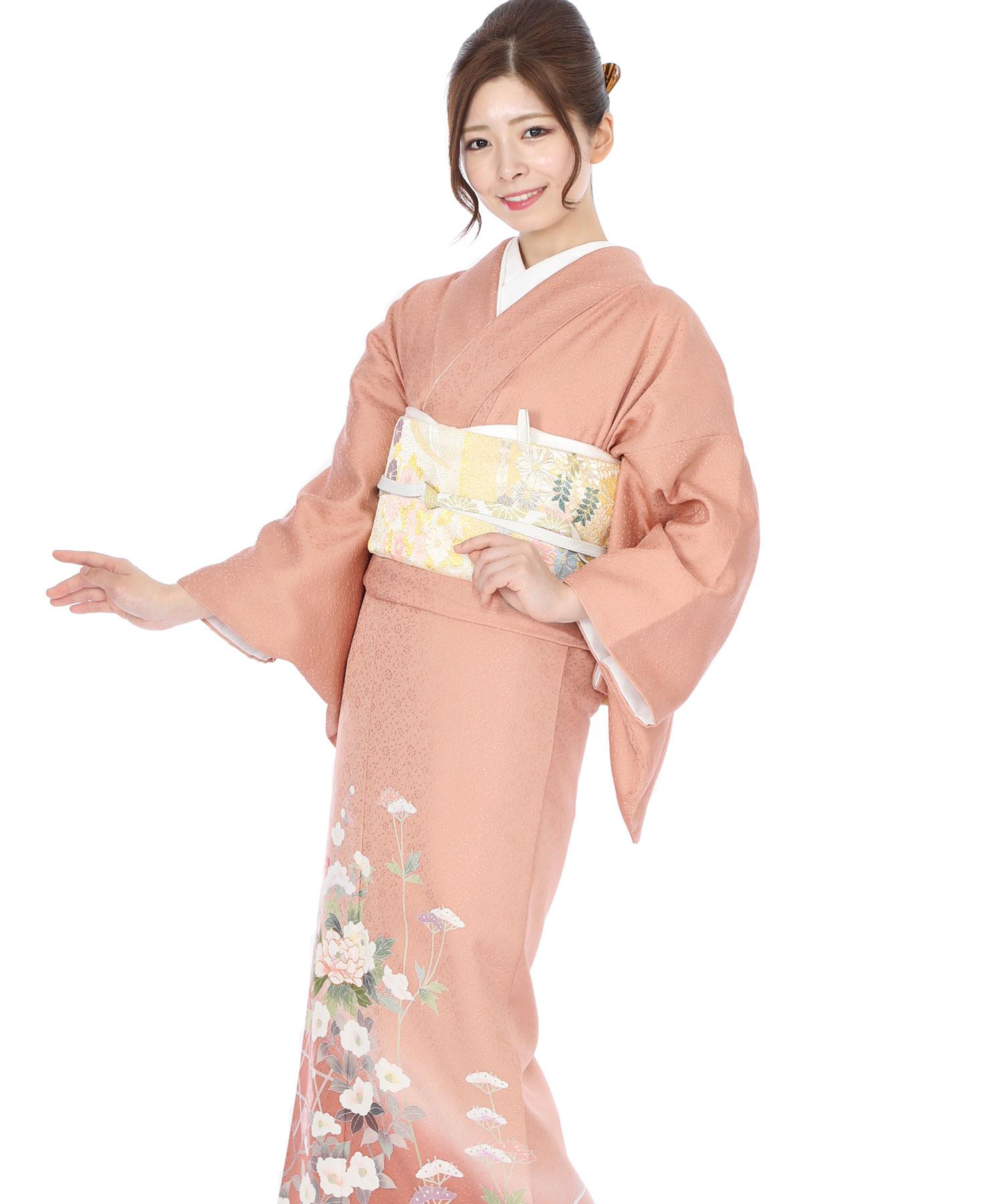 色留袖レンタル|ピンク地に梅と椿籠目
