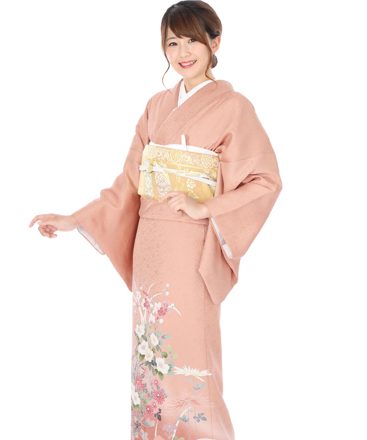 色留袖レンタル|ピンク地に梅と椿