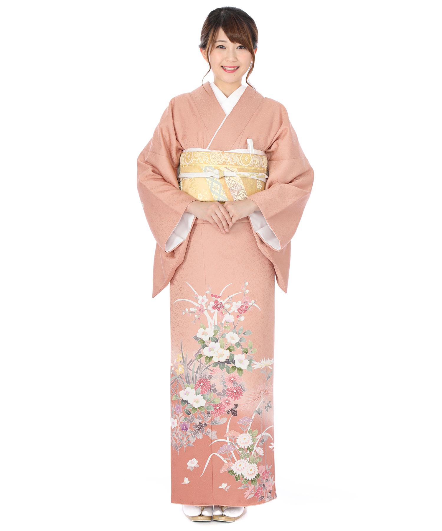 色留袖レンタル ピンク地に梅と椿
