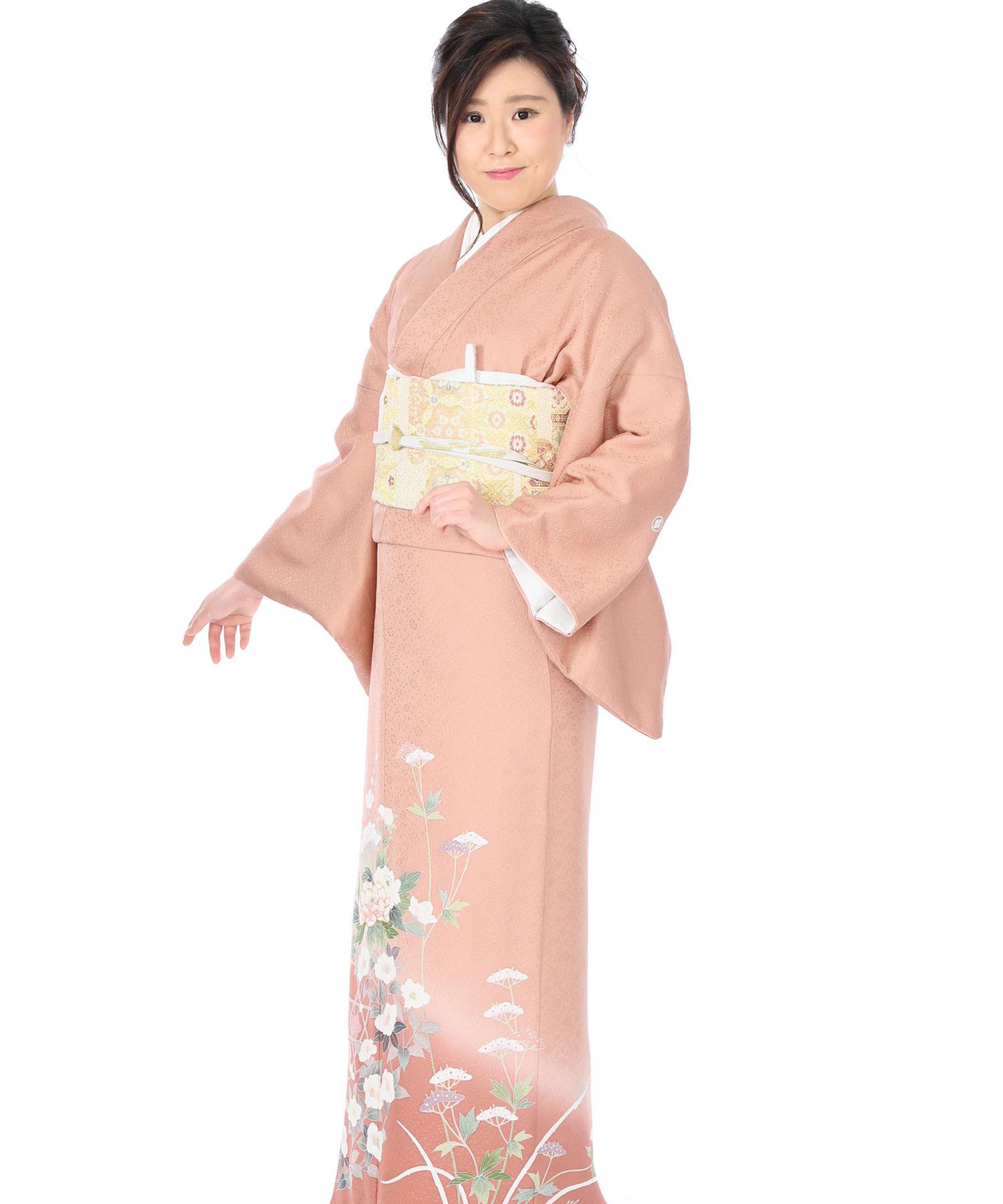 色留袖|ピンク地に梅と椿籠目|I0065|L