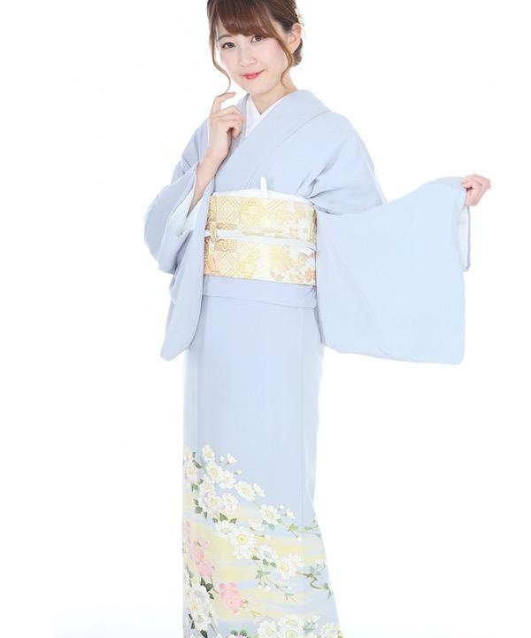 色留袖|水色に桜と梅|I0066|L