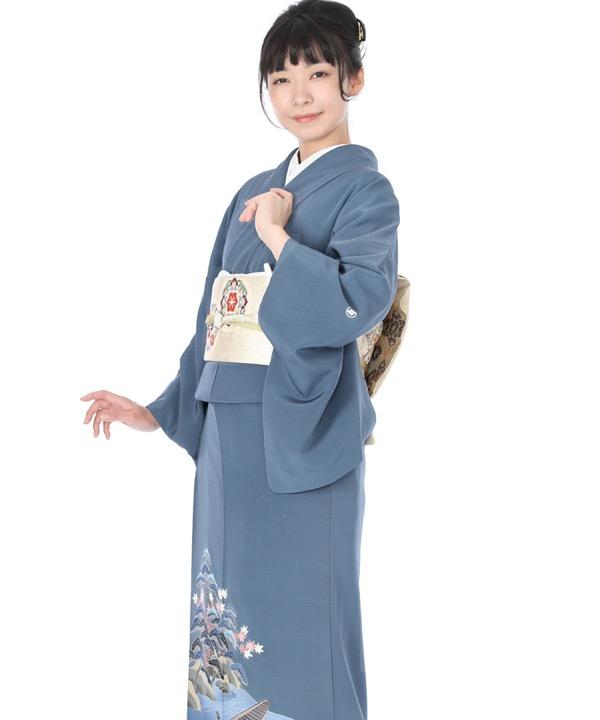 色留袖|青藍に源氏絵|I0069|L
