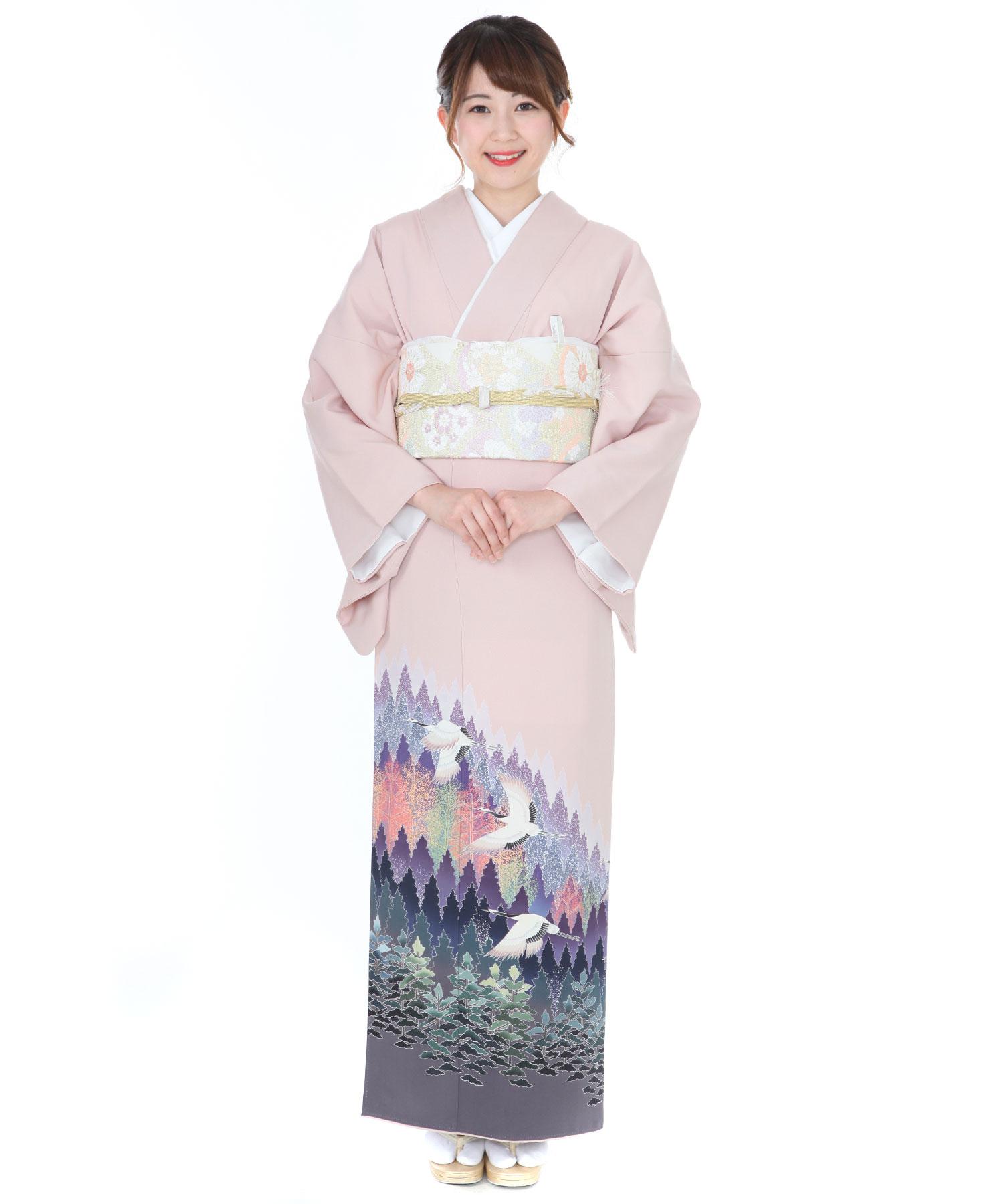 色留袖レンタル|ピンク地に鶴