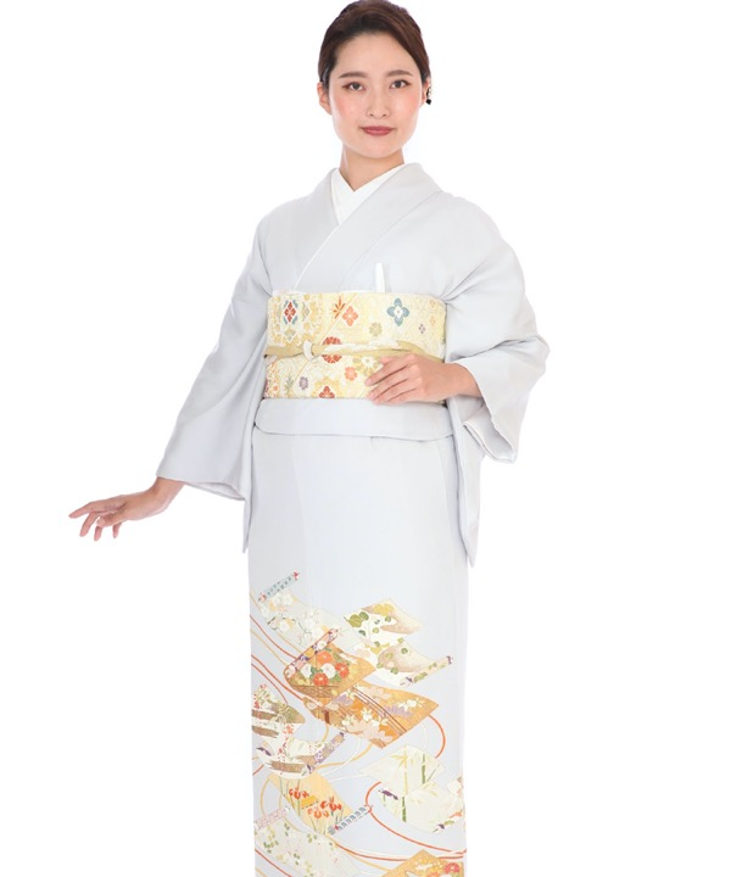 色留袖|グレーに梅や菊の巻物|I0104|M