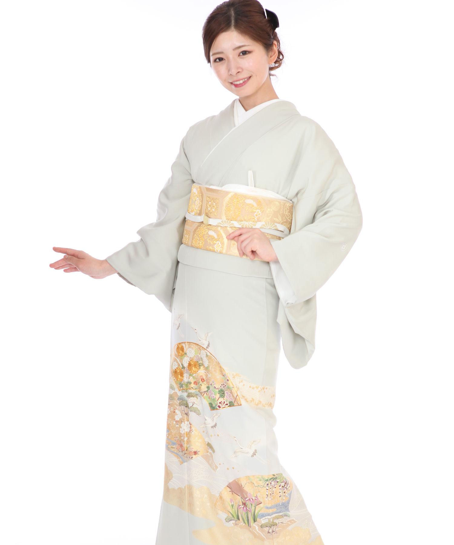 色留袖|薄緑に鶴と扇|I0107|L
