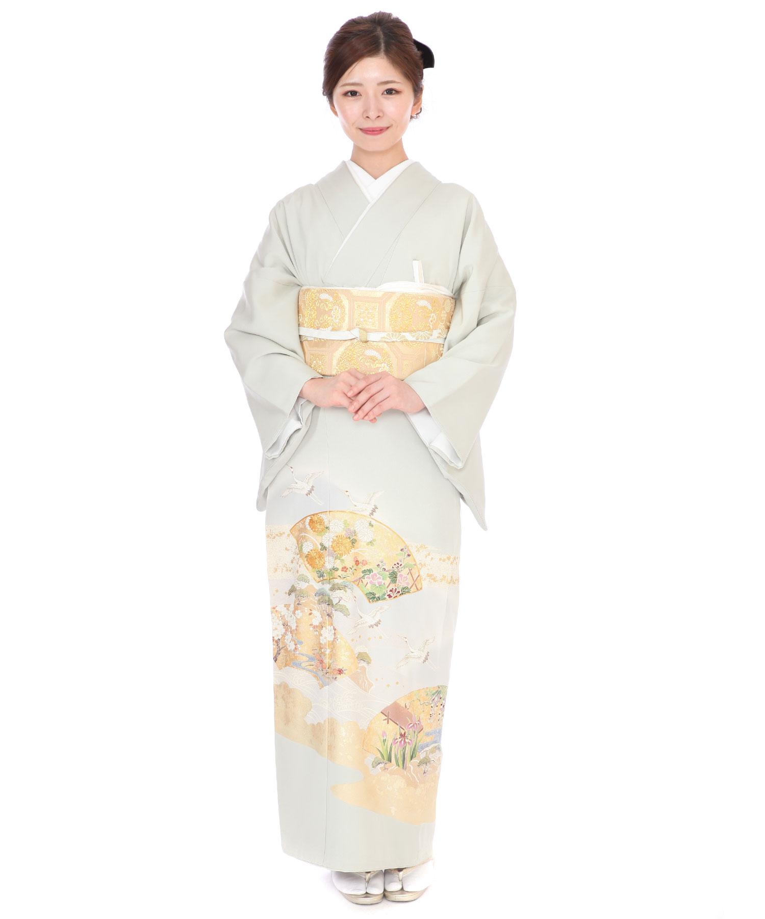 色留袖レンタル|薄緑に鶴と扇