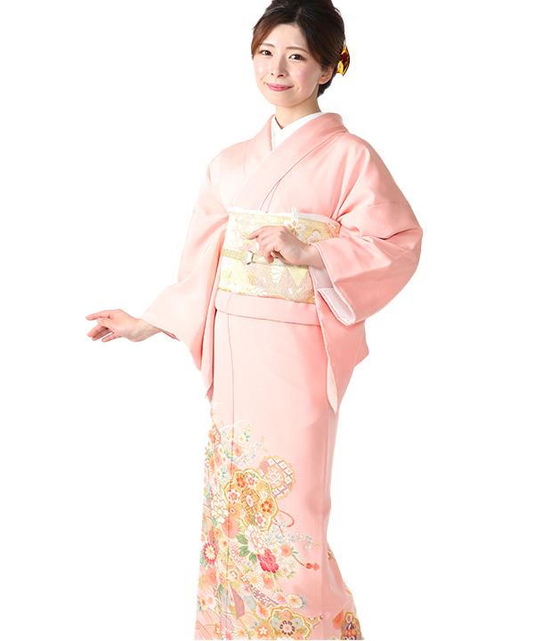 色留袖レンタル ピンクに熨斗と唐花