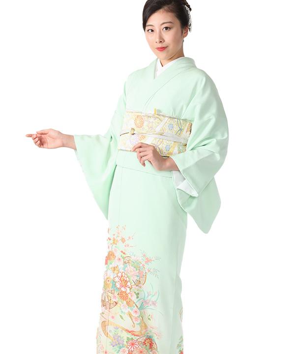 色留袖 | 薄緑色に源氏車と花 | I0114 | LO