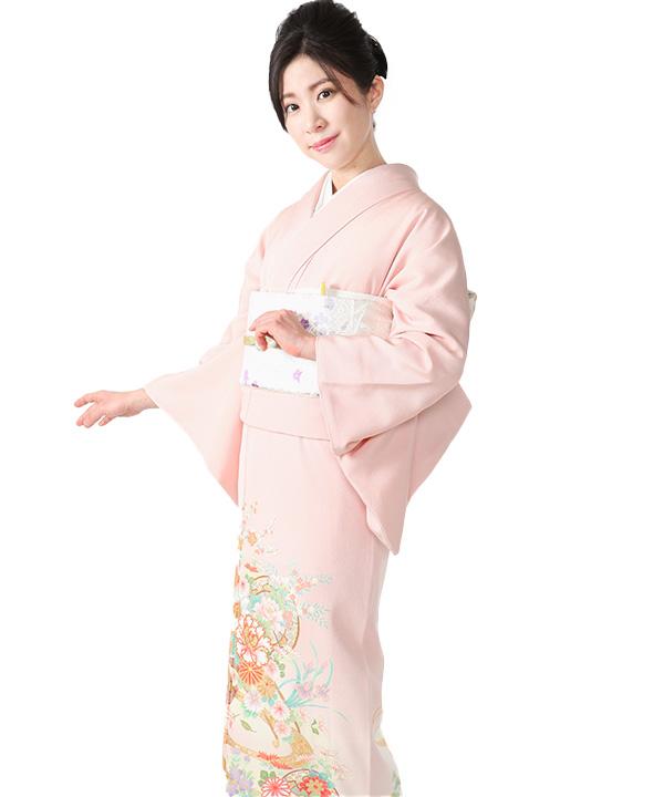 色留袖レンタル|ピンクに源氏車と花