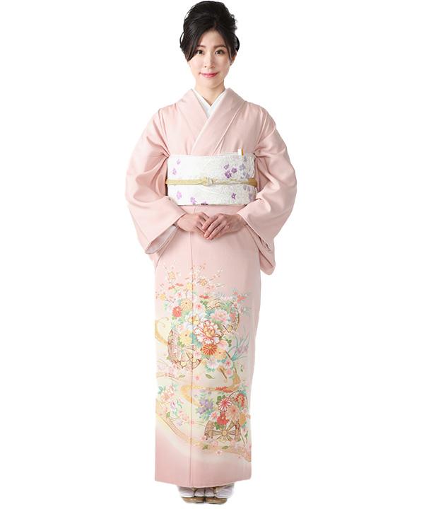 色留袖レンタル ピンクに源氏車と花