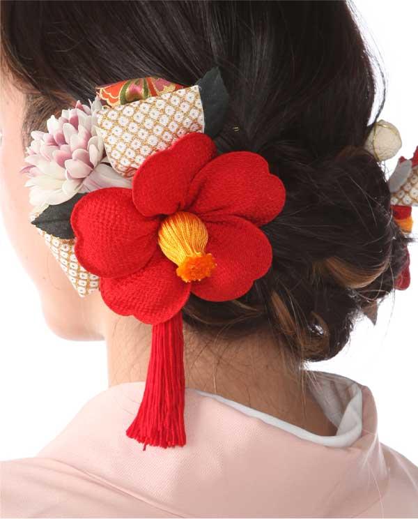 髪飾りレンタル|レトロ赤椿とつまみ細工|KZ0001