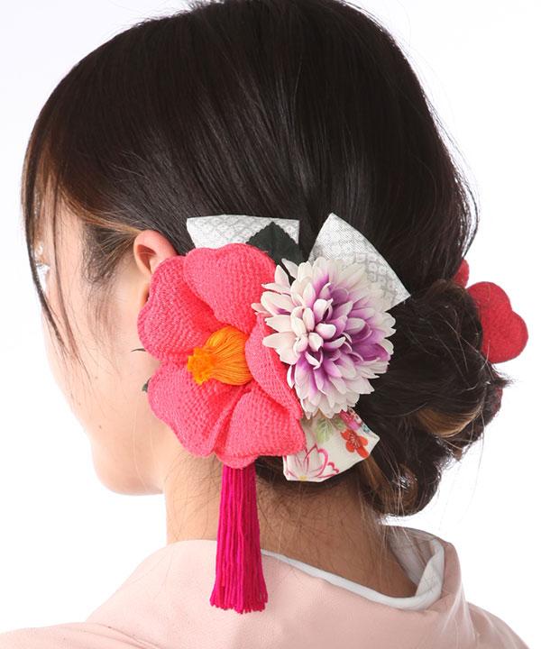 髪飾りレンタル|レトロピンク椿とつまみ細工|KZ0002