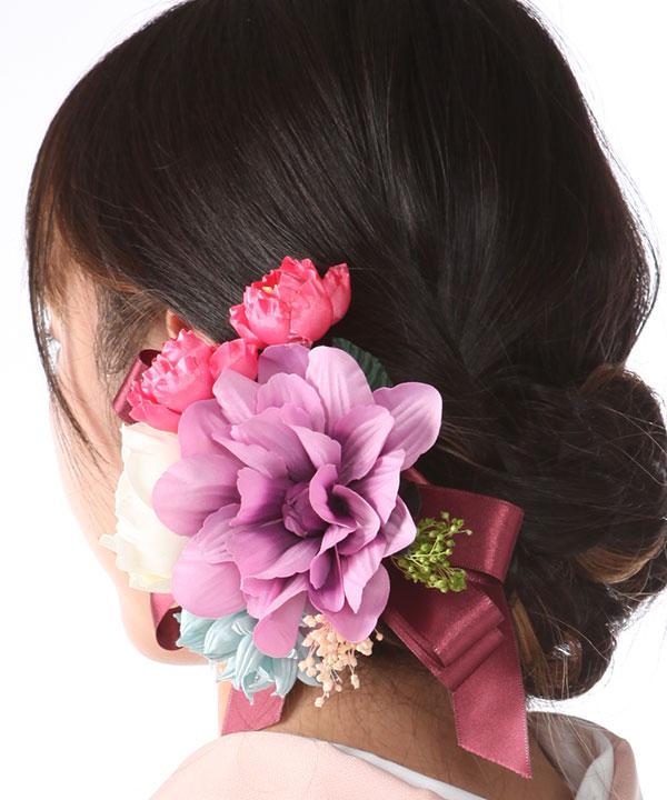 髪飾りレンタル|紫青白のダリアとリボン|KZ0004
