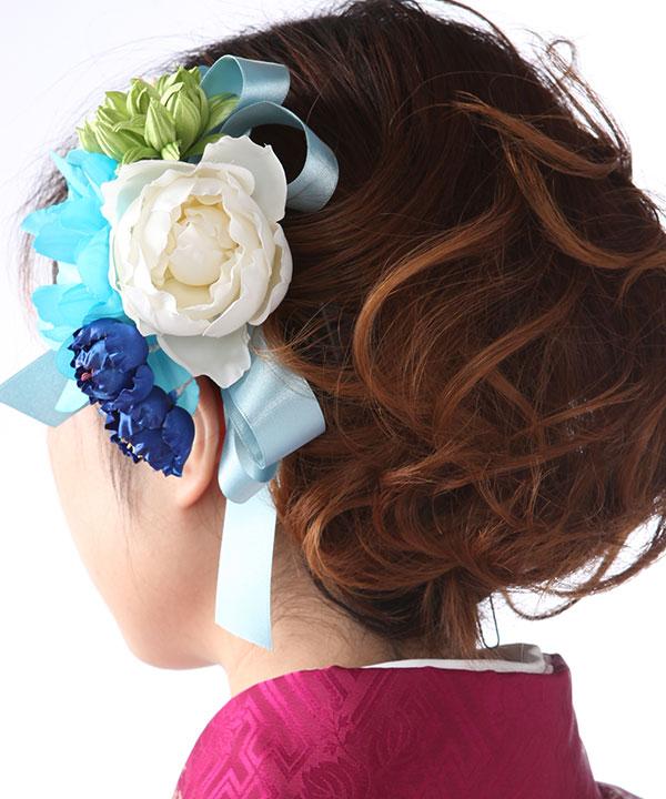 髪飾りレンタル|水色白緑のダリアとリボン|KZ0005