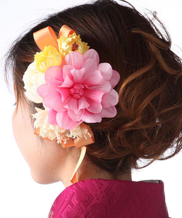 髪飾りレンタル|ピンク白のダリアとリボン