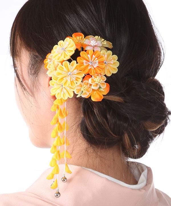 髪飾りレンタル 黄色とオレンジのつまみ藤下がり