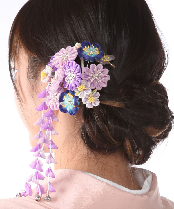 髪飾りレンタル 紫のつまみ藤下がり