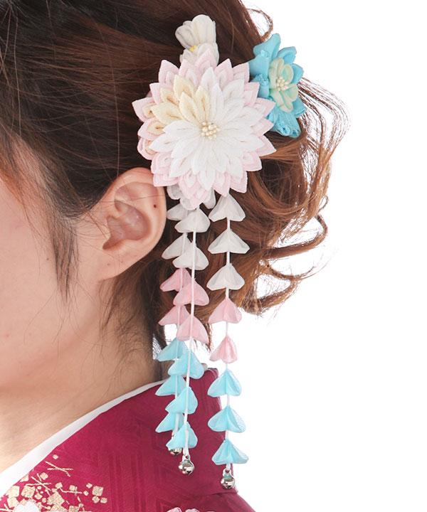 髪飾りレンタル|ピンクと水色のつまみ藤下がり
