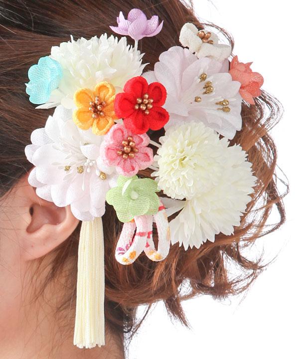 髪飾りレンタル 白いマムにカラフル小花