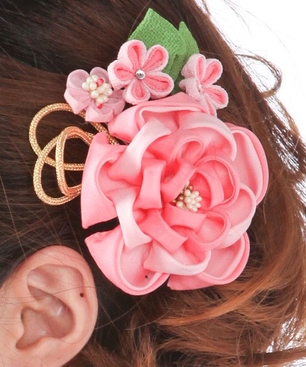 髪飾りレンタル ピンクの乙女椿のつまみ細工