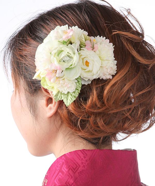 髪飾りレンタル|白の芍薬と小花
